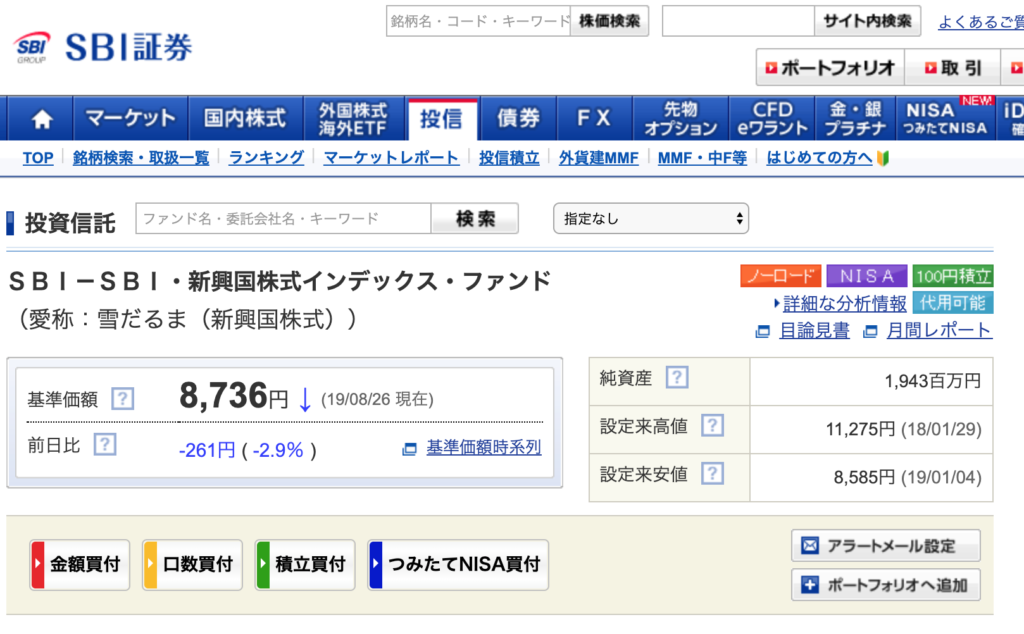 SBI-SBI・新興国株式インデックス・ファンド